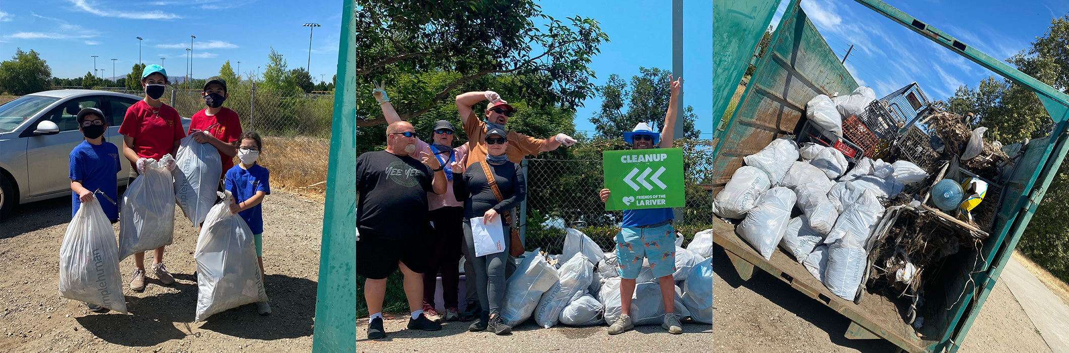 LA River CleanUp Event Photos: kids holding trash bags, left; adults with trash bags and sign, center; dumpster filled with trash bags and trash, right