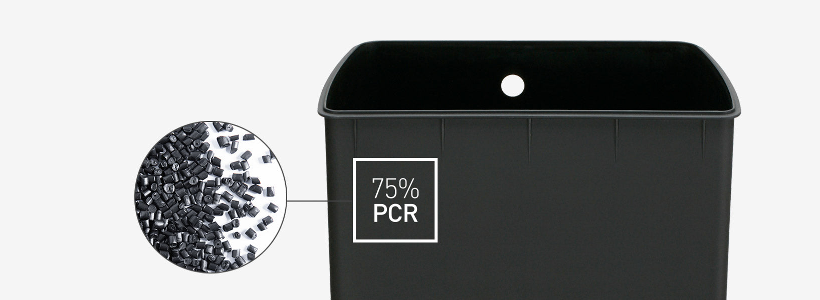 75% post-consumer recycled plastic