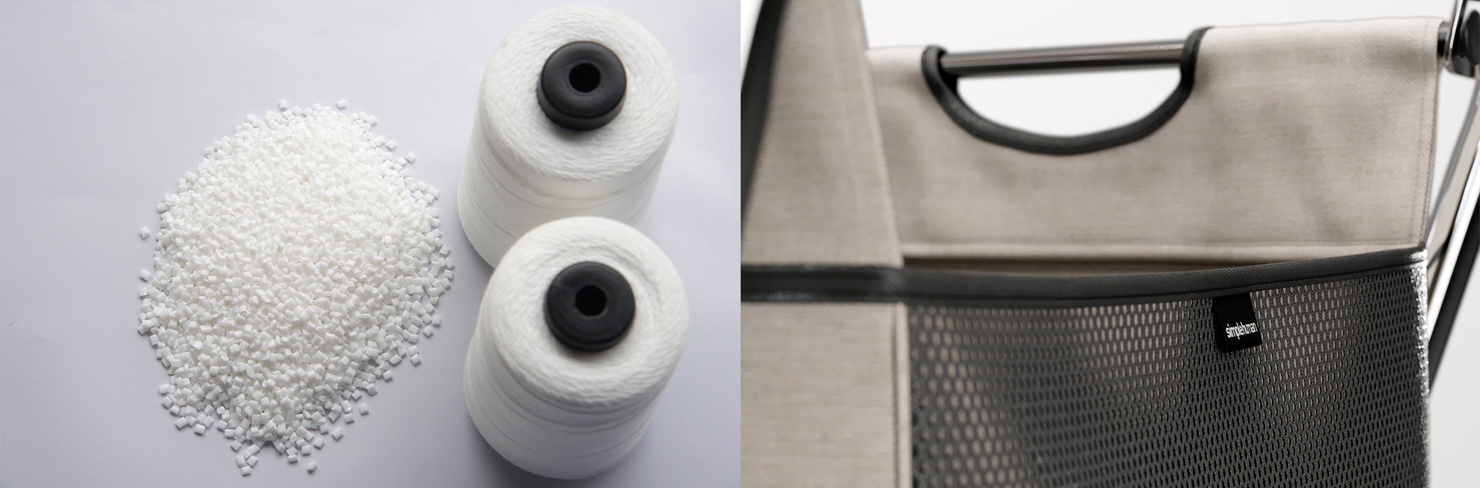 post-consumer recycled materials and simplehuman x-frame laundry hamper