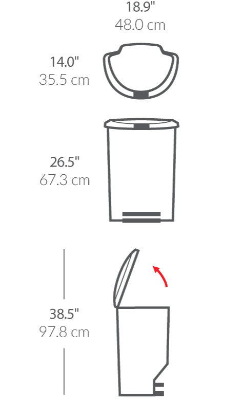 50L semi-round plastic step trash can