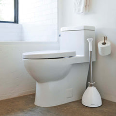 toilet plunger - white plastic - lifestyle in bathroom next to toilet