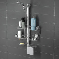 adjustable shower caddy XL - without showerhead - lifestyle black wall image