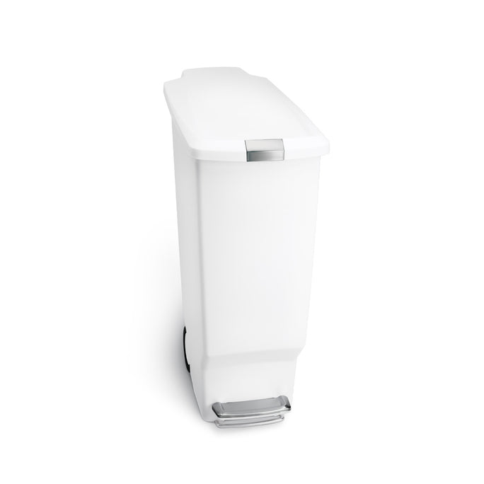 40L slim plastic step can - white - front view main image