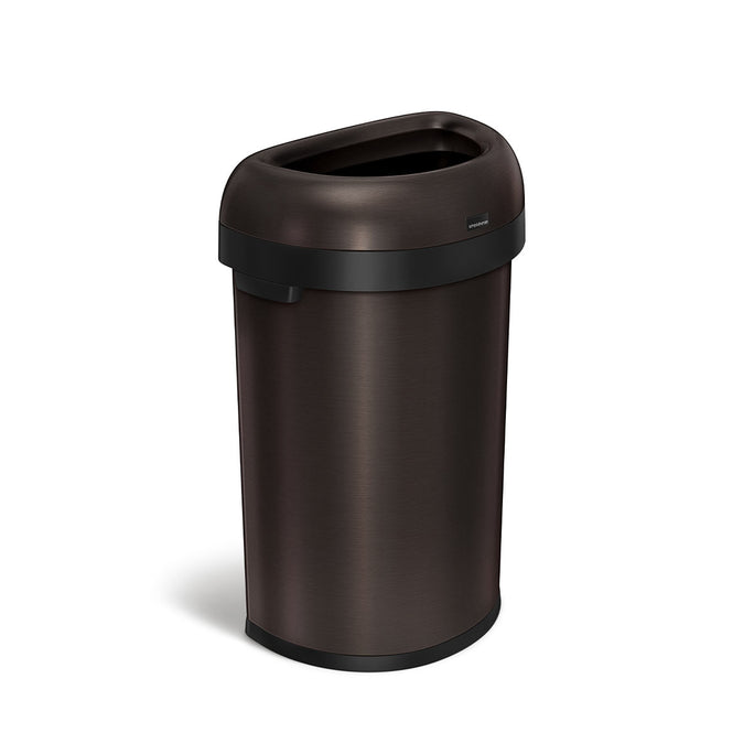 60L semi-round open can - dark bronze stainless steel - 3/4 view main image