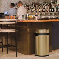 60L semi-round open can - brass stainless steel - lifestyle in restaurant
