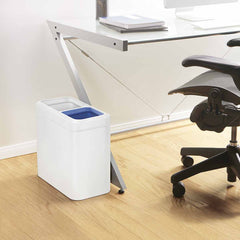 20L dual compartment slim open can - white finish - lifestyle next to desk
