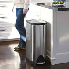 30L butterfly step can - brushed finish -lifestyle in kitchen