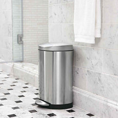 10L semi-round step can - brushed finish - lifestyle can in bathroom