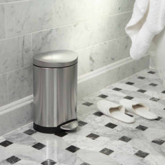 6L semi-round step can - brushed finish - lifestyle bathroom next to slippers