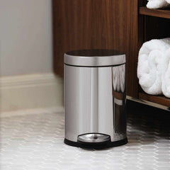 4.5L round step can - polished finish - lifestyle in bathroom by cabinets