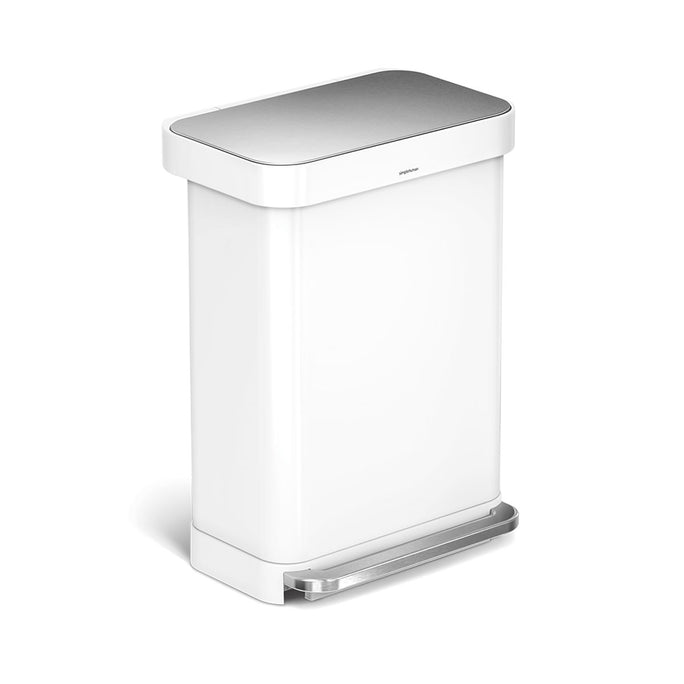 55L rectangular step can with liner pocket - white stainless steel - main image