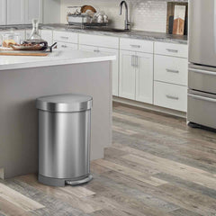 60L semi-round step can with liner rim - brushed stainless steel - lifestyle end of kitchen island