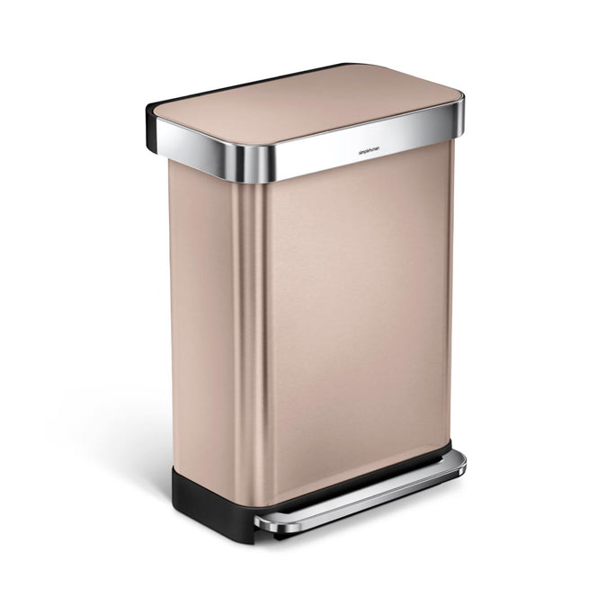 55L rectangular step can with liner pocket - rose gold finish - main image