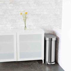 45L slim step can - brushed stainless steel - lifestyle fits in tight space