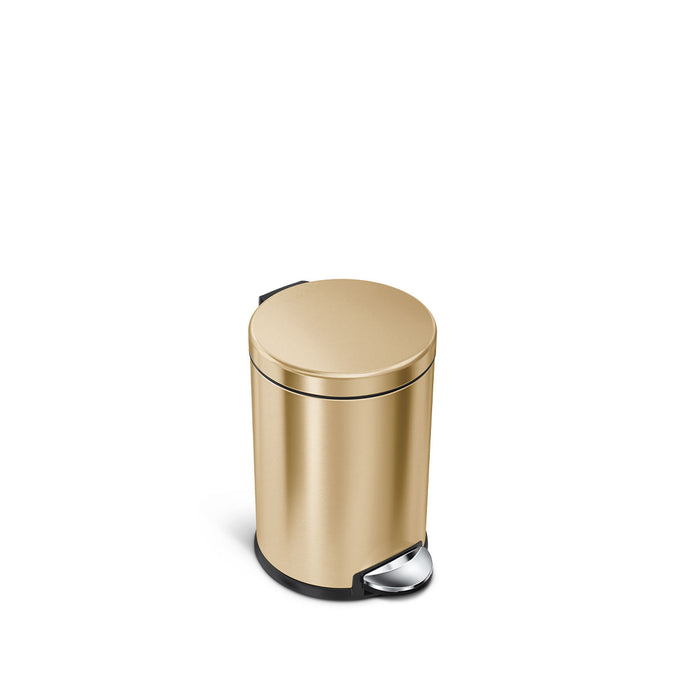 4.5L round step can - brass finish - front view main image