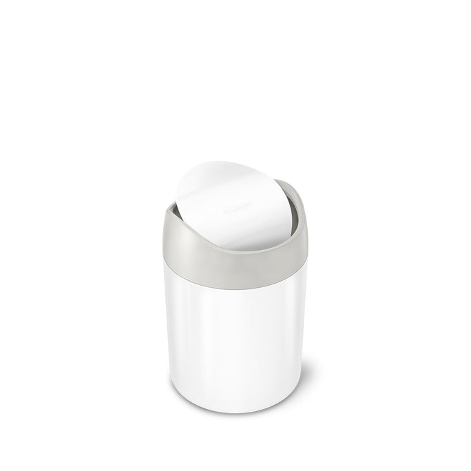 mini can -  white stainless steel w/ grey trim - main image