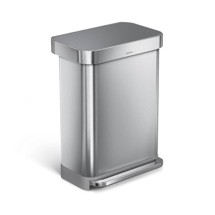 55L rectangular step can with liner pocket - brushed finish with plastic lid - main image