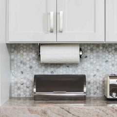 wall mount paper towel holder - lifestyle under kitchen cabinets