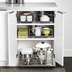 9 inch pull-out cabinet organizer - lifestyle in cabinet