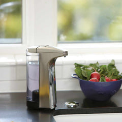 8 fl.oz. sensor pump - brushed finish - lifestyle on kitchen countertop