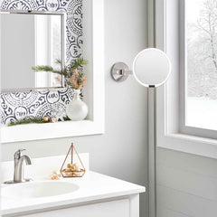 hard-wired wall mount sensor mirror - brushed finish - lifestyle in bathroom image