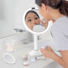 sensor mirror trio - white finish - lifestyle woman applying makeup