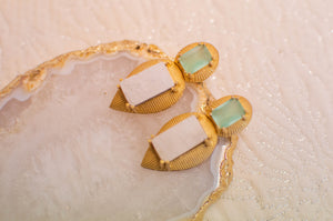 Blue top wooden bottom earrings