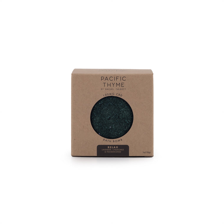 Black, Pacific Thyme Relax CBD Bath Bomb with no packaging.