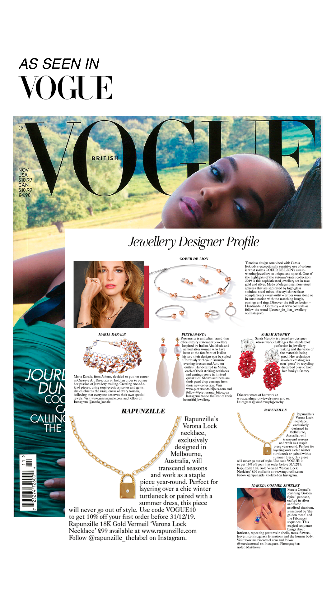 British Vogue - Novemeber 2019 - Rapunzille - Verona Lock Necklace