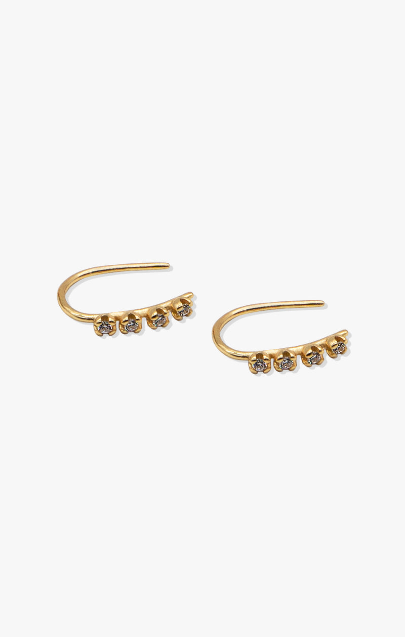 4 Stone CZ Hook Earrings | 18k Gold Vermeil