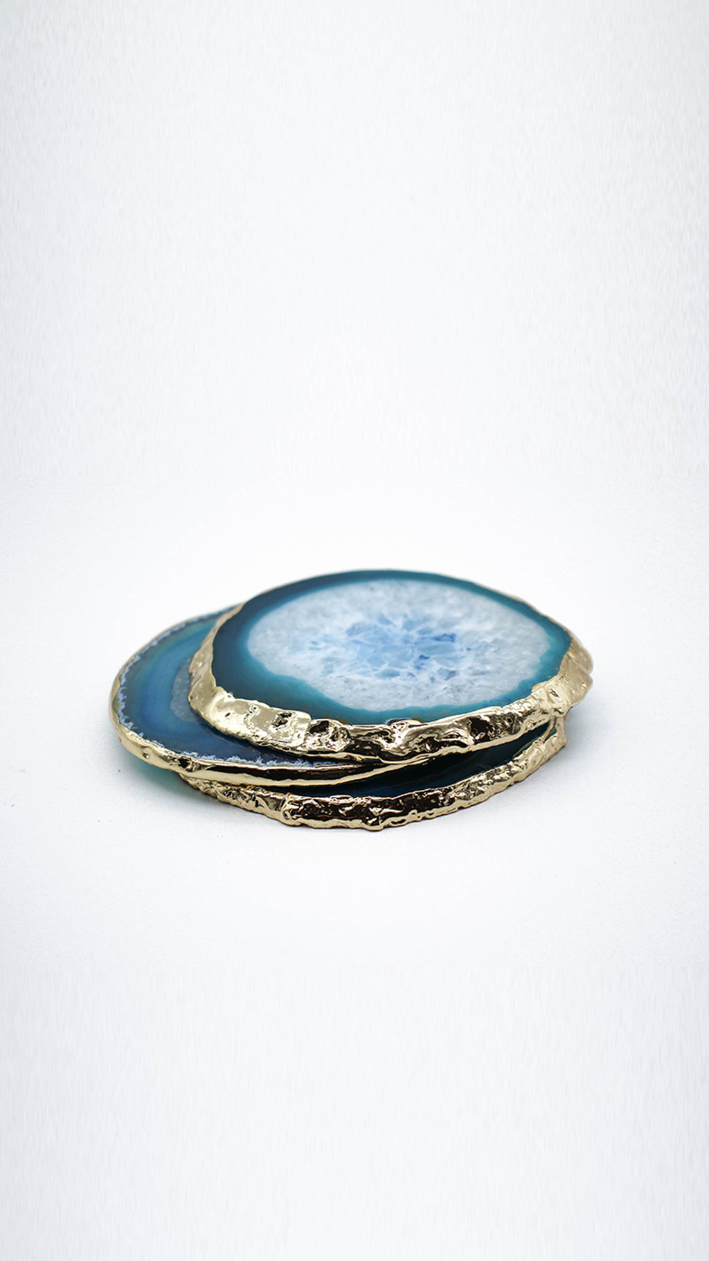 Santorini Blue - Agate Jewelry Coaster (Single Coaster)