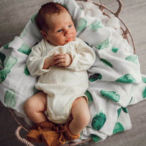 Sea Mist Organic Muslin Wrap - Little Oak + Co