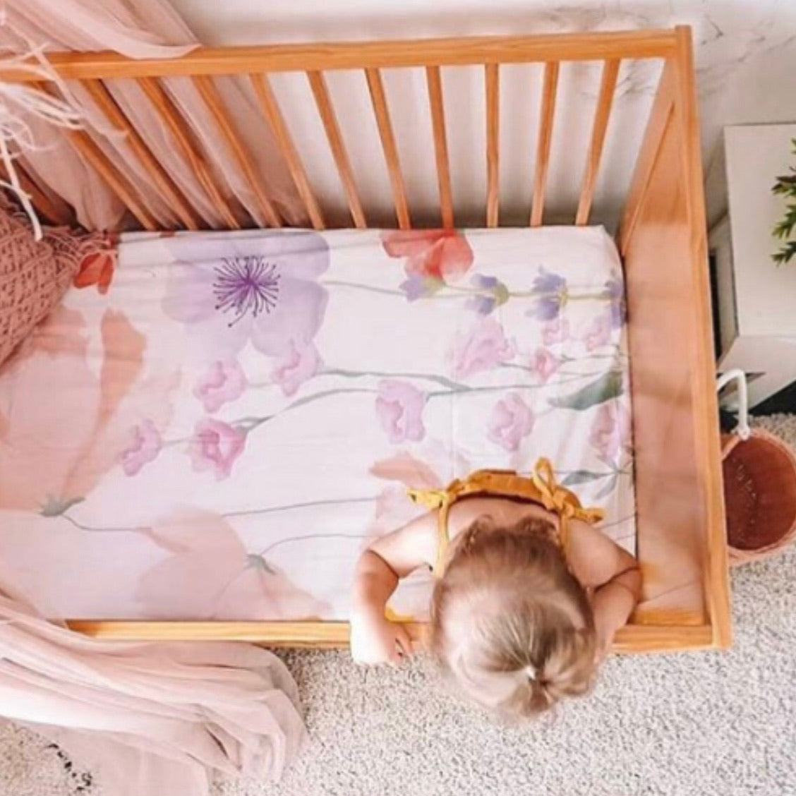 Flower Garden Cot Sheet - Little Oak + Co