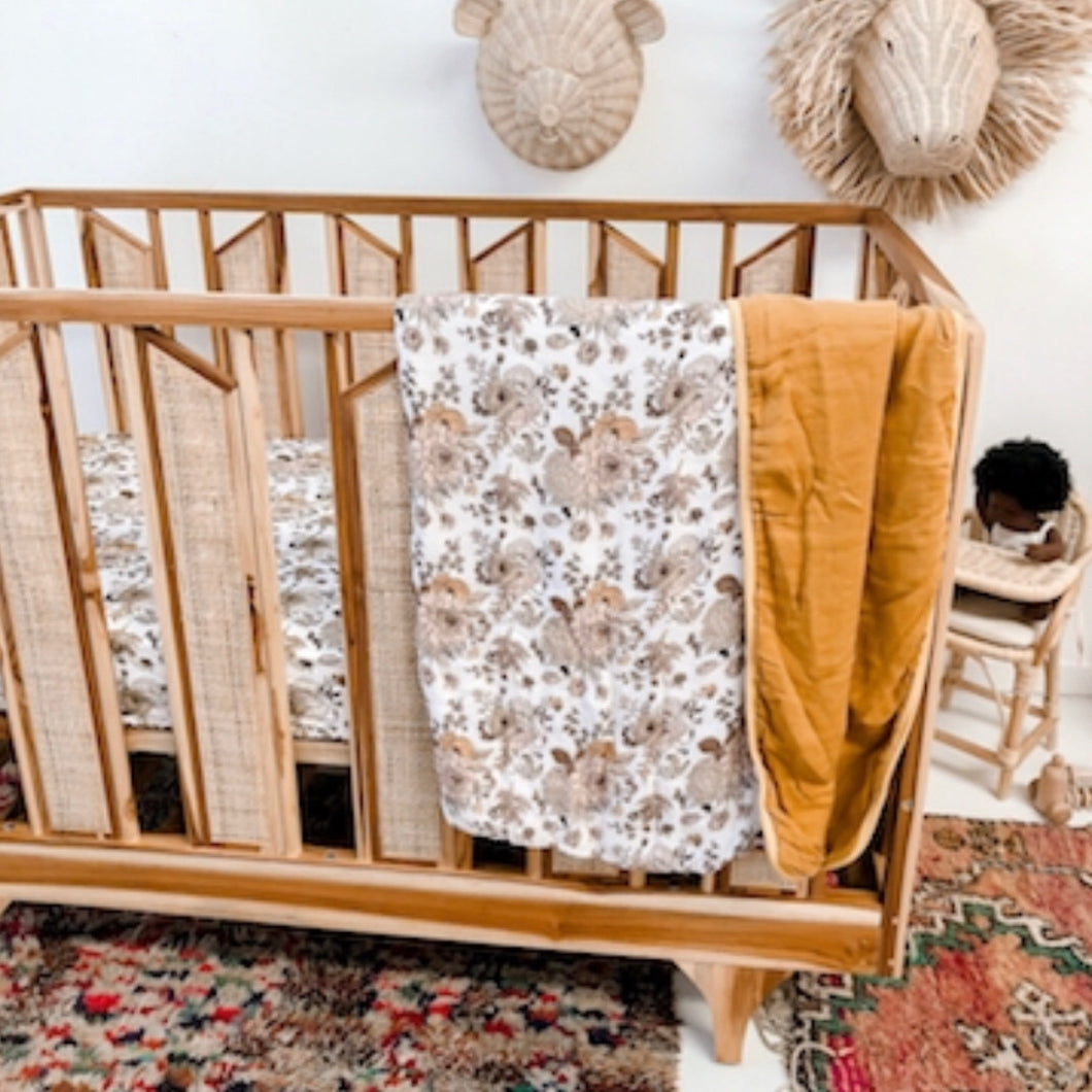 Goldie Blooms Muslin Cot Blanket - Little Oak + Co