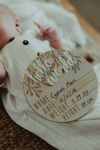 "Wooden + Acrylic ""Hello World"" Birth Announcement Disc - Little Oak + Co"