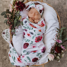 Peony Bloom Baby Jersey Wrap & Topknot Set - Little Oak + Co