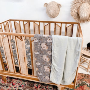 Indigo Blooms Muslin Cot Blanket - Little Oak + Co