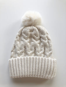 Oatmeal Single Pom Cosy Knit Beanie - Little Oak + Co