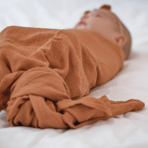 Desert Bronze Bamboo Muslin Swaddle Wrap - Little Oak + Co