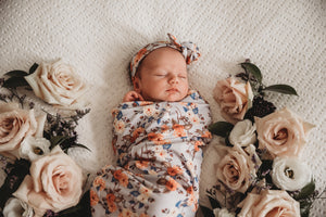 Vintage Blossom Snuggle Swaddle & Topknot Set - Little Oak + Co