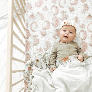Protea Bassinet Sheet - Little Oak + Co