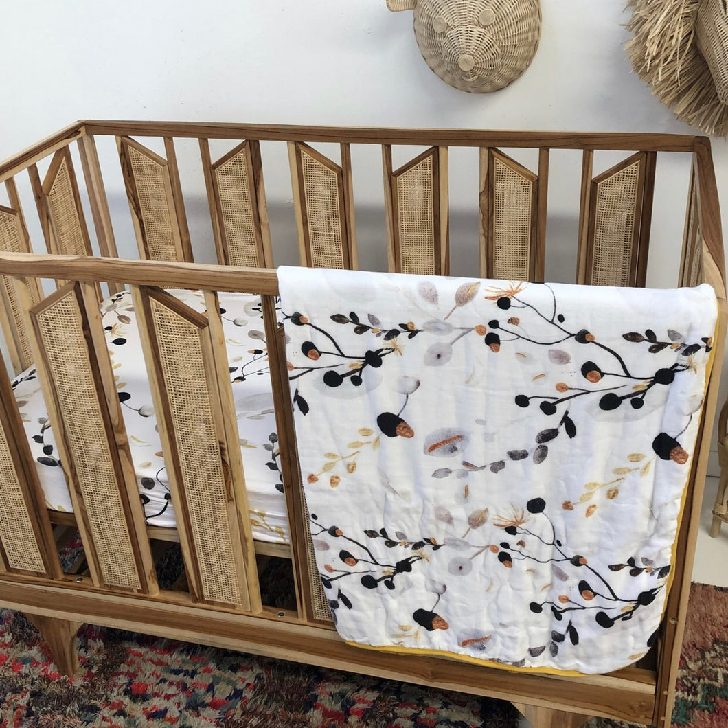 Golden Gum Muslin Cot Blanket - Little Oak + Co