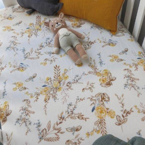 Vintage Brown Floral Bassinet Sheet - Little Oak + Co