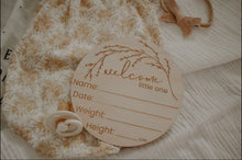 "Wooden ""Welcome Little One"" Birth Announcement Disc - Little Oak + Co"