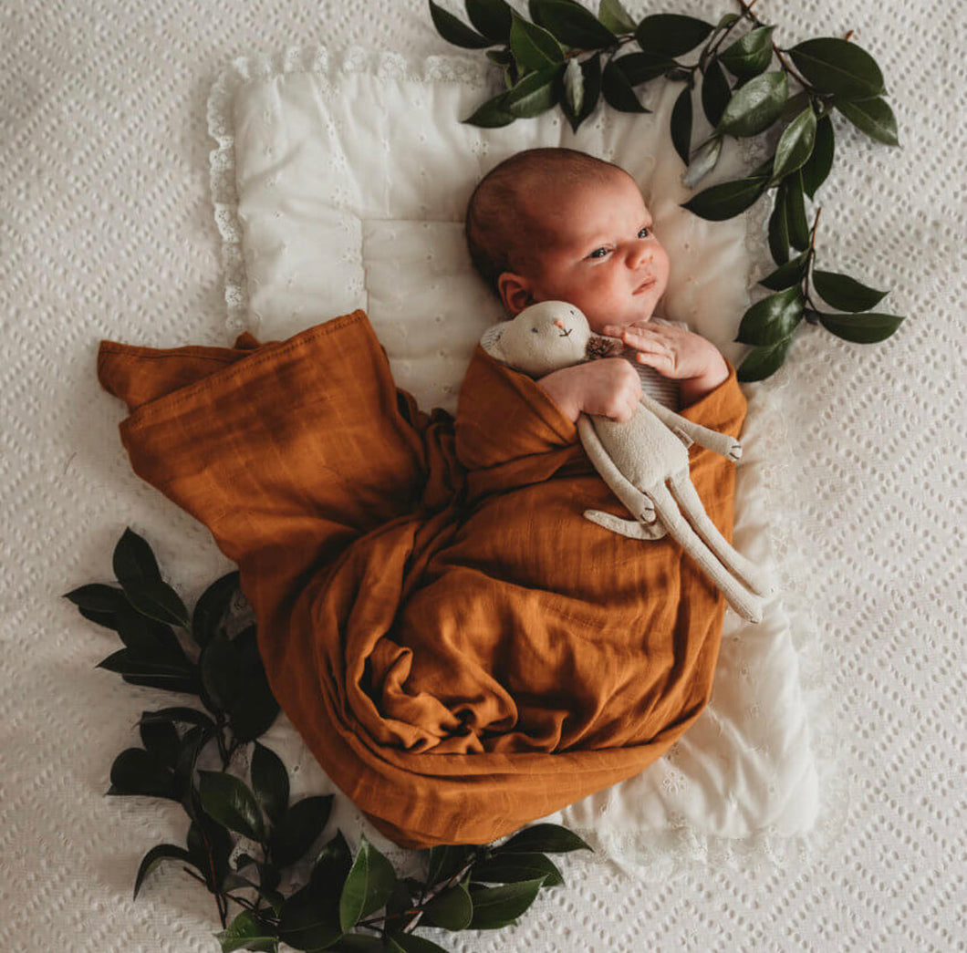 Bronze Organic Muslin Wrap - Little Oak + Co