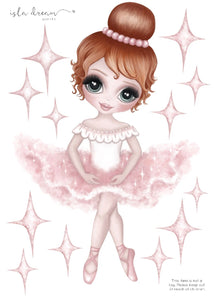 Ruby The Ballerina Fabric Wall Decal A4