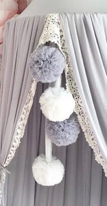 Spinkie Pom Garland - Light Grey - Little Oak + Co