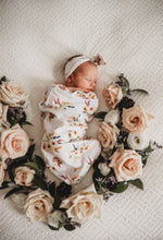 Boho Posy Snuggle Swaddle & Topknot Set - Little Oak + Co