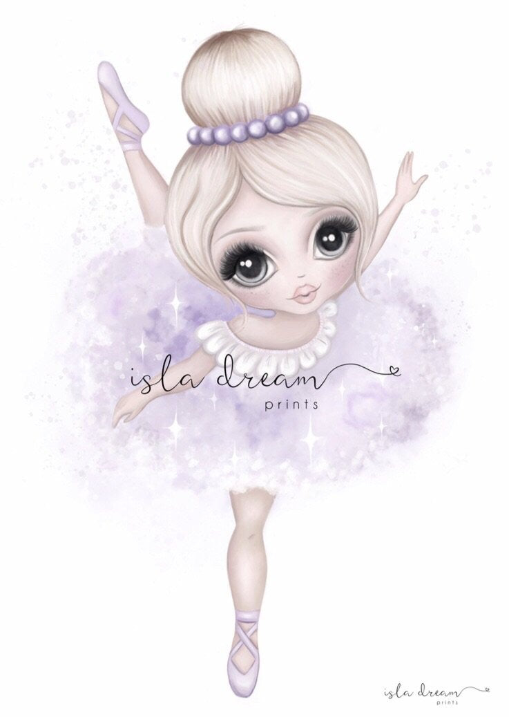 Bella The Ballerina Print - Lilac - Little Oak + Co