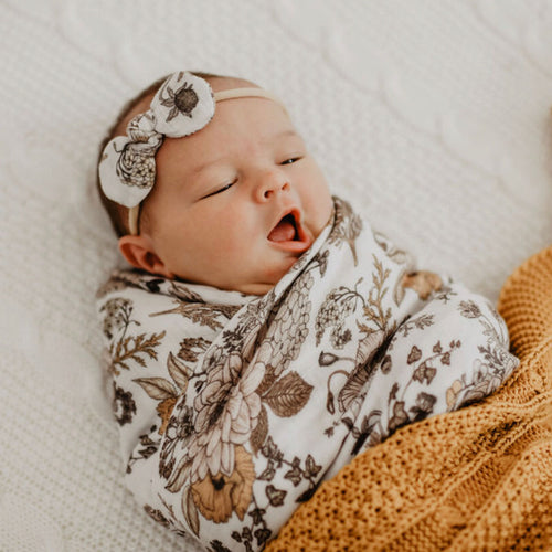 Goldie Blooms Bamboo Muslin Swaddle Wrap - Little Oak + Co